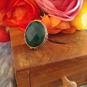 Barse green & antique gold statement boho ring